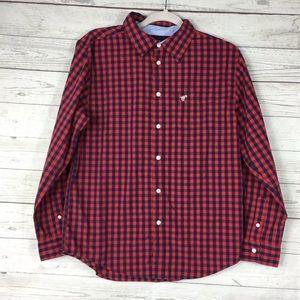 Wrangler Boy's 18 Red Blue Plaid Button Up Shirt
